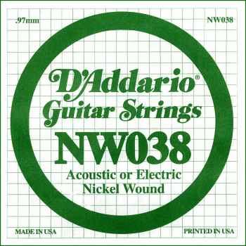 D´addario NW038 Cuerda Suelta para Guitarra Eléctrica