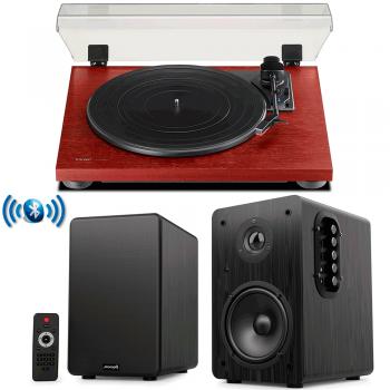 Equipo HiFi TEAC TN-180 BT Wood Giradiscos Bluetooth + Audibax Beta 1BT Altavoces Activos Bluetooth