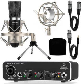 Behringer UMC22 Interface Audio con Micrófono Estudio Berlín 1800 + Accesorios