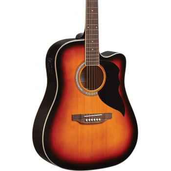 Eko Ranger VI Brown Sunburst Cutaway EQ Guitarra Acustica