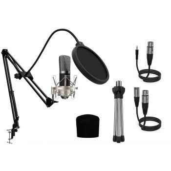 Audibax Berlin 1800 Silver Pro Pack Micrófono Estudio + Soporte + Antipop + Cables