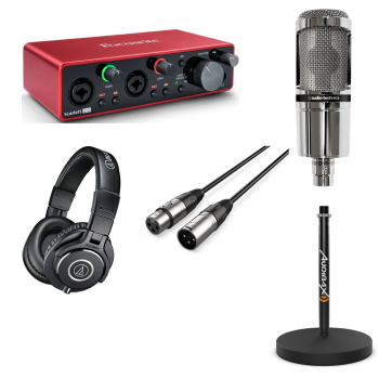 Pack Podcast and Youtuber Focusrite Scarlett 2i2 3rd Gen con Micro , Soporte, Cable y Auricular