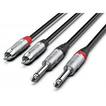 Audibax Pro Cable 2 Jack Mono a 2 RCA 3 Metros Negro