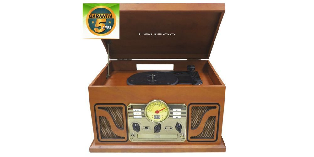 lauson tocadiscos con bluetooth funcion encoding cdmp3 radio amfm cl606 retro 5anos garantia