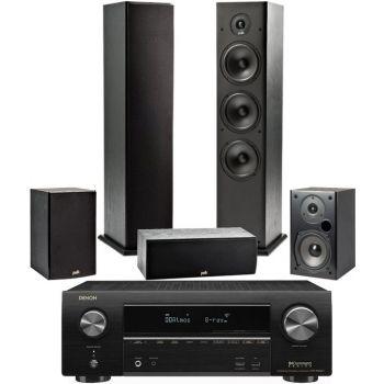 Denon Equipo AV AVR-X1600 + Polk T50 + T30 + T15 Altavoces Home Cinema.