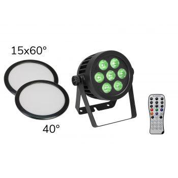 Eurolite Set LED IP PAR 7x8W QCL Spot + 2x Tapa difusor (15x60 ° y 40 °)