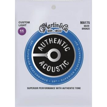 Martin MA175 Cuerdas Guitarra Acustica Authentic Sp Bronze 80/20 Custom Light 11-52