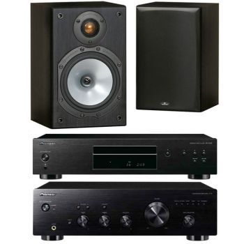 Pioneer A-10K+PD10AE-Monitor Audio MR1 Black Conjunto Audio