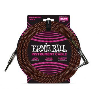 ERNIE BALL 6064 CABLE INSTRUMENTO TRENZADO JACK-JACK SA Negro / Naranja - 7,62m