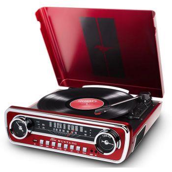 Ion Audio Mustang LP Rojo Giradiscos Radio Altavoz Bluetooth Vintage