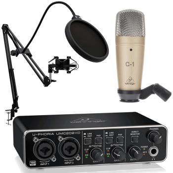 Behringer Pack U-Phoria Estudio Interface USB UMC202HD + Micrófono Estudio Behringer C1 + Accesorios Micro