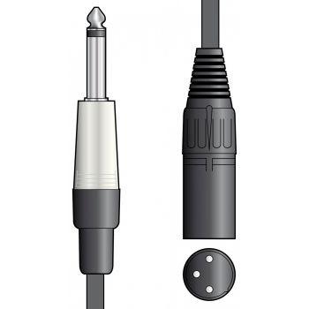Chord Cable XLR Macho - Jack 6.3mm Mono 1.5 metros