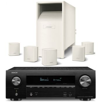 DENON AVR-X1500+Bose AM-6V WH Conjunto Home cinema