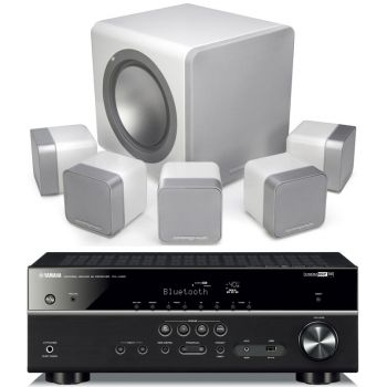 Yamaha RXV485+MINX12 White Cinema Pack + X201 SUB Conjunto Home Cinema