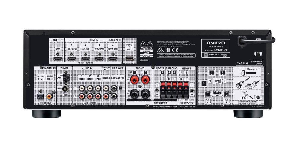 ONKYO TX SR494 Black Receptor Av conexiones