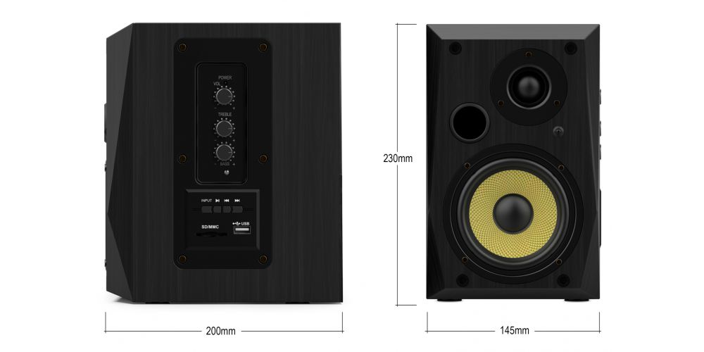 wiibo neo50 v2 black altavoces estanteria negro medidas