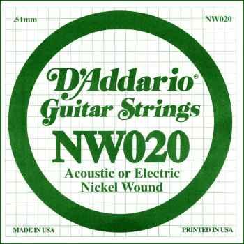 D´addario NW020 Cuerda Suelta para Guitarra Eléctrica