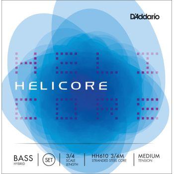 D´addario HH610 Juego cuerdas Helicore Hybrid para contrabajo 3/4, tensión media