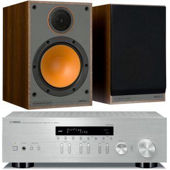 Yamaha RN-303D Silver+Monitor Audio Monitor 100 Walnut Conjunto Sonido