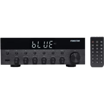 Fonestar AS-1515 Amplificador Bluetooth 15W + 15W RMS. Entrada Micrófono con Mezcla y Echo.Karaoke. Radio FM .Entradas USB . Acabado Aluminio
