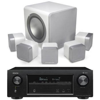 Denon AVRX1400+MINX12 White Cinema Pack + X201 SUB