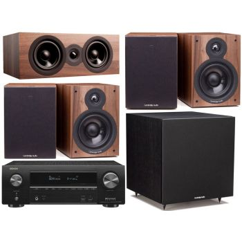 DENON AVR-X1500H+Cambridge SX50 Walnut Cinema Pack 5.1 Conjunto Home Cinema