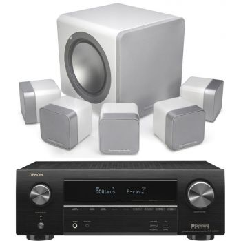Denon equipo AV AVR-X1500H + Cambridge Audio Minx12 Blanco Cinema Pack + X201 SUB Altavoces Home Cinema