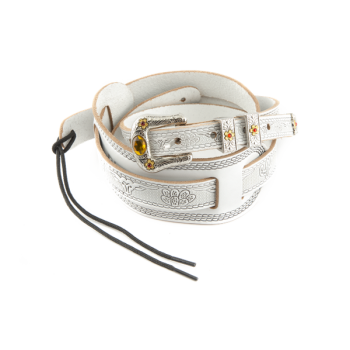 Gretsch Tooled Retro Leather Strap White