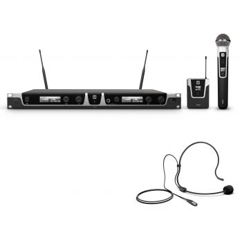 LD Systems U518 Hbh 2 Sistema inalámbrico con Petaca, micrófono de diadema y micrófono de Mano