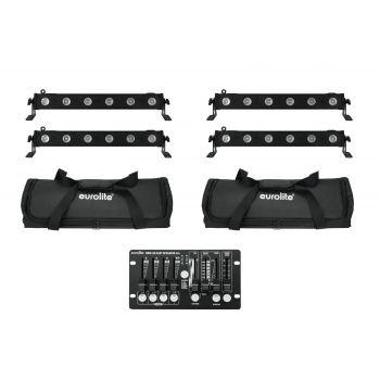 Eurolite Set 4 x LED BAR-6 QCL RGBW Barra Led + 2 x Soft Bag + Controlador DMX