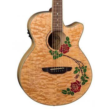 Luna Guitars Flora Rode Quilt Maple Gloss Natural. Guitarra Electroacústica