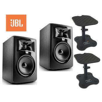 JBL Pareja 305P MKII Monitor Estudio Bi-amplificado + 2 Soporte Audibax STM-10