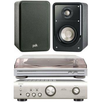 Equipo HiFi. Amplificador DENON PMA-520 S + Giradiscos DP29 + Altavoces HiFi Polk Audio Signature S15
