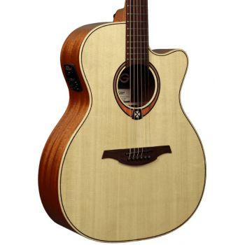 LAG T88ACE Guitarra Electro Acústica Formato Auditorium con Cutaway Acabado Natural Brillo