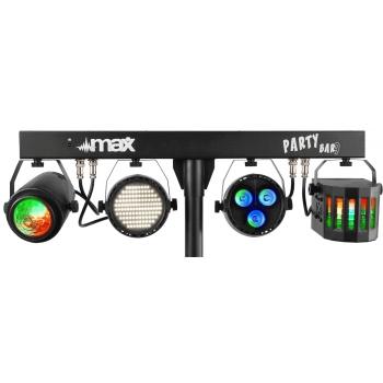 max PartyBar09 Set de Iluminacion con Foco Par, Jelly Moon, Derby y Strobo 153006