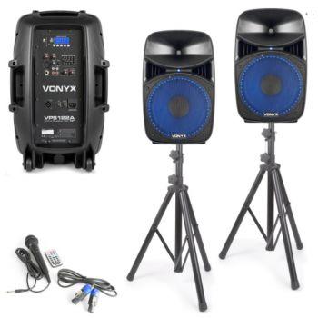 VONYX VPS122A Set 2 Altavoces Plug & Play 800W con tripodes 178130
