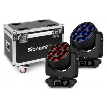 Beamz MHL1240 Cabeza Movil LED Zoom 12 X 40W 2 Piezas en FlightCase 150100