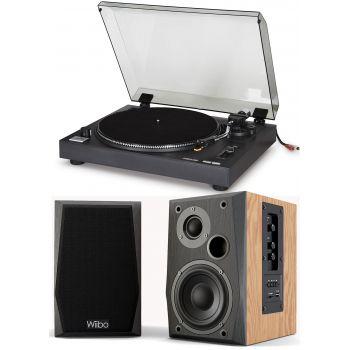 Equipo HiFi Fonestar SF-2300C. Giradiscos de vinilos con Previo Phono y USB. Selector Phono / línea + Altavoces estantería Bluetooth Wiibo Neo 50