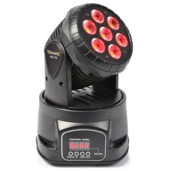 BEAMZ 150518 MHL-74 Mini Cabeza Movil Wash 7X 10W DMX 12 CH Quad Led