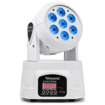 Beamz 150519 Mini Cabeza Movil Wash DMX 12 Canales Quad LED Blanco