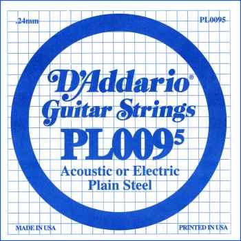 D´addario PL0095 Cuerda Suelta para Guitarra Eléctrica y Acústica