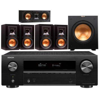 Denon AVRX550 + Klipsch R-15MIIHC ,Conjunto 4-R15MII, R52C, R100SW Conjunto Altavoces Home Cinema