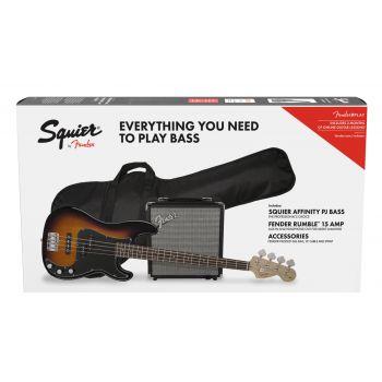 Fender Squier Affinity Precision Bass PJ LRL Brown Sunburst + Funda + Rumble 15 Bajo Eléctrico