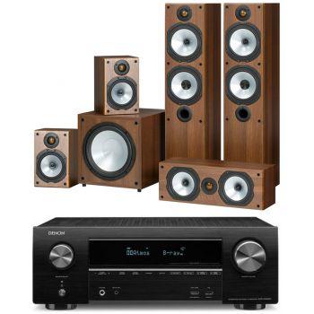 DENON AVR-X1500+MONITOR AUDIO POWER 4 Walnut Conjunto Home Cinema