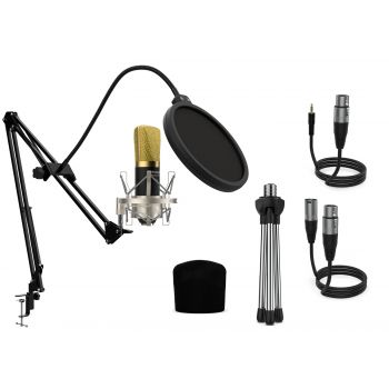 Audibax Berlin 1800 Gold Pro Pack Micrófono Estudio + Soporte + Antipop + Cables