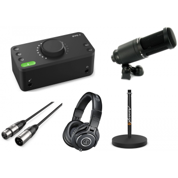 Pack Podcast and Youtuber Audient Evo 4 con Microfono AT2020 , Soporte , Cable y Auricular