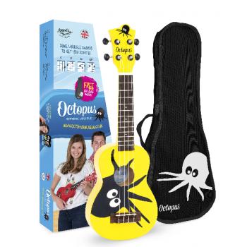 Octopus UK-205 KAY Ukelele Soprano Kane Amarillo con Funda
