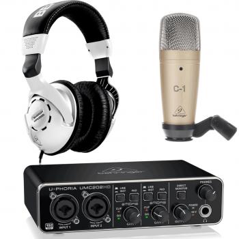 Behringer Pack U-Phoria Estudio Interface USB UMC202HD + Micrófono Estudio Behringer C1 + Auriculares Estudio Behringer HPS3000