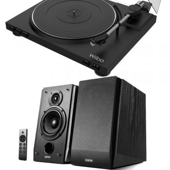 Equipo HiFi Giradiscos LYRA 100 Wiibo + Altavoces Activos Edifier R1855DB Bluetooth