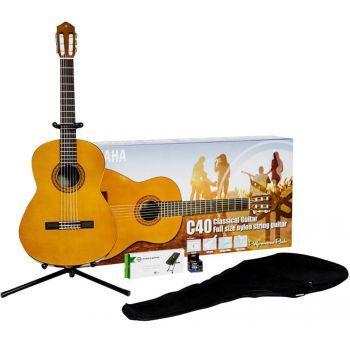 YAMAHA C-40 PACKAGE Pack de Guitarra Clásica con Funda, Afinador, Soporte y Reposapiés